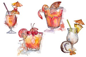 Cocktail mix PNG watercolor set