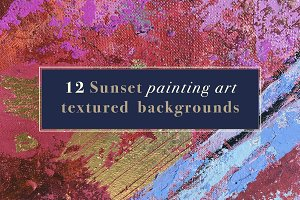 12 Sunset painting art backgrounds