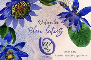 Blue lotus PNG watercolor set