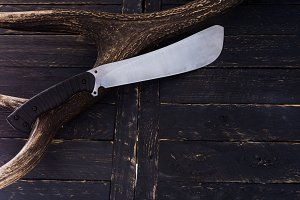 One big knife. The texture of a deer horn.