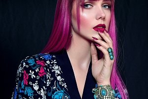 Girl with lilac hair.