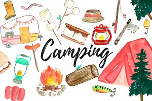 Large Watercolor Camping Clipart Set