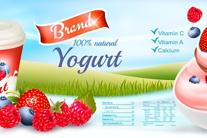 Fruit yogurt with berries template
