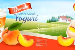 Fruit yogurt with peach template