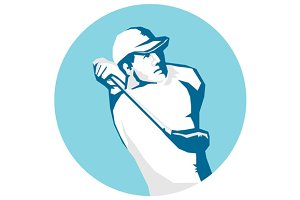 Golfer Tee Off Golf Stencil