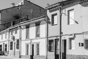 Village Street in Black and White