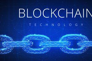 Polygonal blockchain futuristic hud banner.