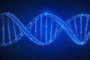 DNA chain futuristic hud banner.