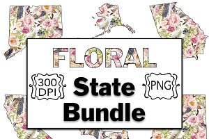 Floral States Clipart-All 50 States