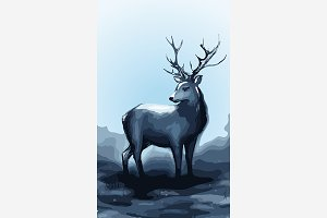 Winter deer animal vector art