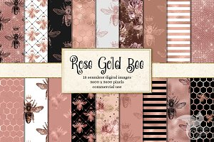 Rose Gold Bee Digital Paper