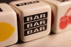 Bar Slots Cube Toys. Macro Close up