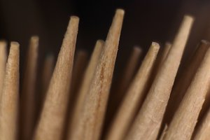 Toothpicks Stack. Macro Closeup.