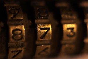 Retro Bronze Lock Numbers