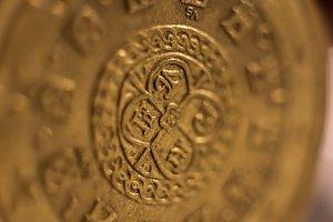 Euro Coin. Macro Closeup.