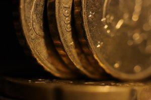 Euro Coins Macro Closeup