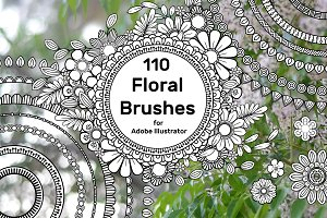 110 Floral Brushes for Illustrator