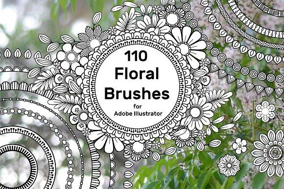 110 Floral Brushes For Illustrator