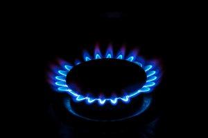 A gas burner with blue burning gas