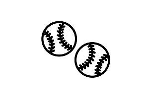 Web line icon. Baseball black
