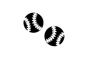 Web icon. Baseball black on white