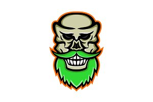 Bearded Skull or Cranium Mascot