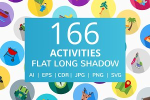166 Activities Flat Icons