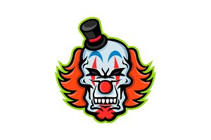 Whiteface Clown Skull Mascot