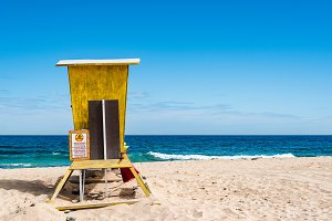Yellow safeguard hut in the beach