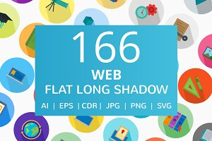 166 Web Flat Long Shadow Icons