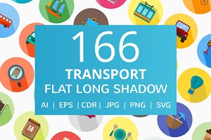 166 Transport Flat Long Shadow Icons