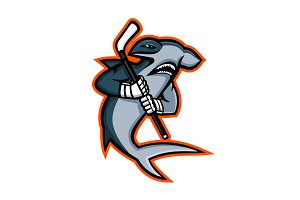 Hammerhead Ice Hockey Player Mascot