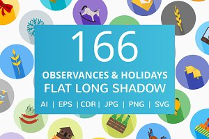 166 Observances & Holiday Flat Icons