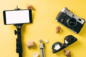 travel accessories top view . camera