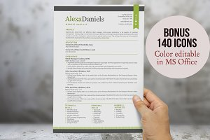 Lime 3 in 1 modern ribbon resume
