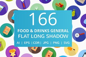 166 Food & Drinks General Flat Icons