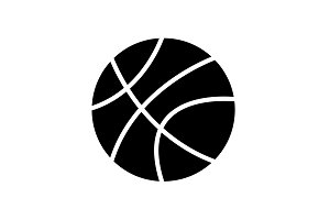 Web icon. Basketball black on white