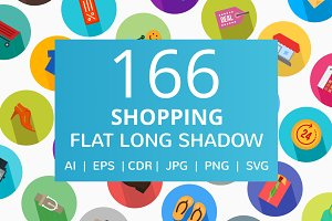 166 Shopping Flat Long Shadow Icons