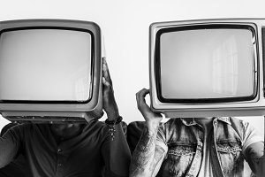 People holding television