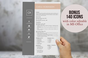 2 in 1 modern resume for Word