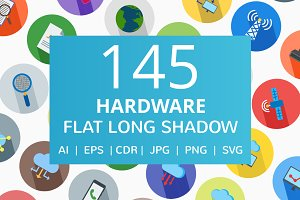 166 Hardware Flat Long Shadow Icons