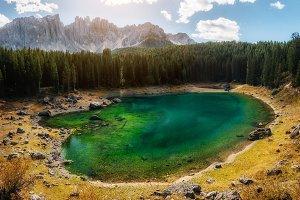 Carezza Lake in Dolomites in autumn