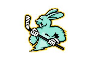 Jackrabbit Ice Hockey Player Mascot