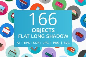 166 Objects Flat Long Shadow Icons