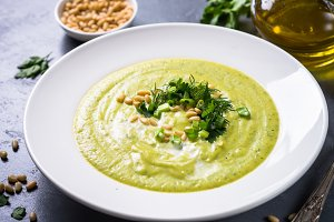 Zucchini Cream soup with  herbs and cream.