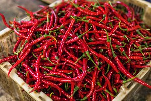 Organic red hot chilli peppers for sale on a local market of Bali island.