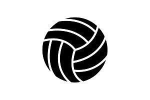 Web icon. Volleyball black on white