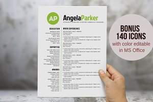 Round bold initials resume template