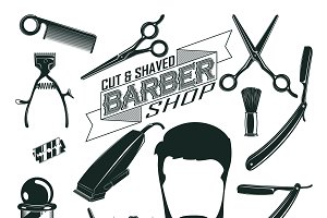 Vintage Barbershop Elements Set