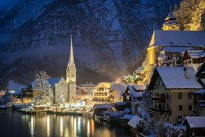 Hallstat village in the Austria at the evening time